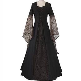 Wholesale medieval renaissance dresses - Renaissance Medieval Maxi Dress Women Vintage Floor Length Gown Gothic Dress Lolita Lace Flare Sleeve Retro Victorian