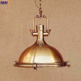 Wholesale Vintage Hanging Light Fixtures - IWHD American Retro Pendant Lighting Fixtures Gold Copper Style Loft Industrial Vintage Lamp Hanging Lights Lamparas Lighting