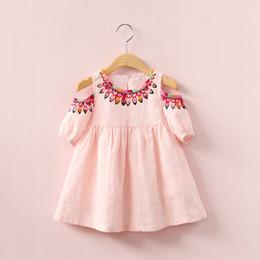 Wholesale Elegant Short Lace Dresses - 2018 INS hot selling summer girl kids off shoulder dress kids round collar sleeveless back hollow out elegant dress