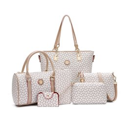 Wholesale Maternity Nursing Set - 6 Pieces Diaper Bags Set Designer Tote Cute Nursing Bag Mother's Maternity Stroller Bag Changing Bags