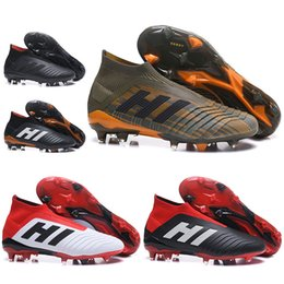 Wholesale Boys Casual Boots - Casual Mens Women High Ankle Football Boots Youth Kids Predator 18+ FG Soccer Shoes Children Boy Girls Predator 18.1 Outdoor Soccer Cleats