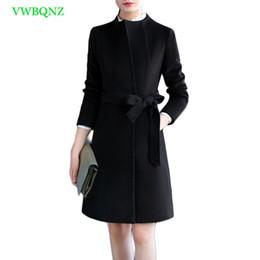 женщина пальто карьера черный Скидка Осень зима плюс размер шерстяное пальто женщины корейский хлопок талии шерсть пальто женщин лук шею черный карьера пальто 3XL A1008
