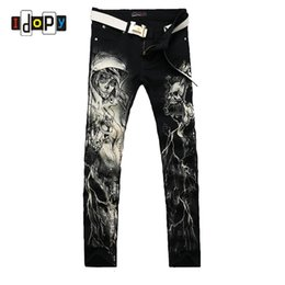 Wholesale Leg Painting - New 2016 Men`s Printed Jeans Punk Style Gothic Painted Cotton Straight Leg Cool Jeans For Young Men