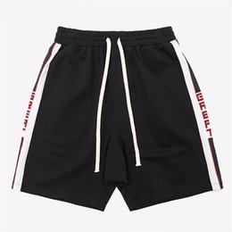Wholesale relax red - 2018 Summer Hit Color Alphabet Stripes Retro Joggers Sweatpants Shorts Hip Hop Streetwear Men's Casual Shorts