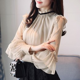 Wholesale Ladies Tops Butterfly Sleeve - 2018 New Spring Women Chiffon Shirt Blouse Butterfly Long Sleeve Stand Neck Hollow Out Flare Office Lady Work Blouse And Tops