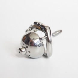 Wholesale small metal chastity cages - China Super short metal cock cage 304# stainless steel small male chastity cage with catheter new chastity devices for men