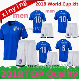 Wholesale Italy Blue Soccer Jerseys - men Kits 17 18 ITALY Soccer Jersey best quality 2018 ITALY FOOTBALL SHIRTS CANDREVA EL SHAARAWY BONUCCI INSIGNE IMMOBILE Verratti men Sets