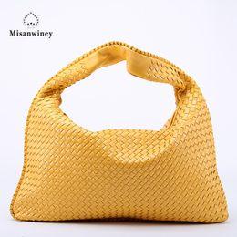fe11911770 Misanwiney Hand-Weaving Women Bag Handbag Fashion Casual Dumplings Bag 2018  New Leather Ms. Tote Shoulder bag~Star models