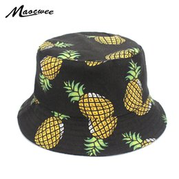 ad24fcd90ec Embroidered Fisherman Cap Funny Fresh Fruit Pineapple Hat Men Women Cool  Outdoor Sports Summer Fishing Bucket Hats Panama Caps