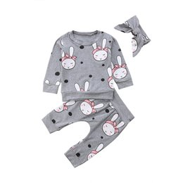 Manicotto lungo del coniglio del vestito online-2018 Infant Newborn Baby Girl Rabbit Top T-shirt + Pants + Fascia abiti 3Pcs Outfits Set manica lunga Warm Cotton Soft Clothing