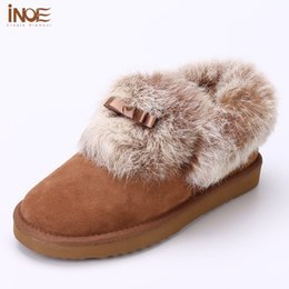 Wholesale Natures Shoes - 2016 New Fashion Nature rabbit fur Style leisure big girls short ankle snow boots for women winter shoes flats brown free ship