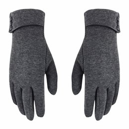 Wholesale orange cotton gloves - Lisli Women's New Screen Touch Thick Warmer Weather Gloves Black Wine Red Gray Fashion Winter Gift 03S0065
