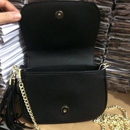 Wholesale Canvas Leather Shoulder Bag - 2018 new designer name G black leather tassel chain shoulder bags messenger bags small bags