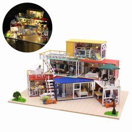 Деревянные пазлы ручной работы онлайн-Hoomeda 13843Z 3D Wooden Puzzle DIY Handmade Container Home With Music Cover Light DIY Dollhouse Kit 3D Japanese Style