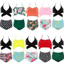 Ropa de surf online-Bañadores florales de las mujeres conjuntos de bikini de cintura alta Ruffles 2 piezas traje de baño para mujeres de verano de natación de surf ropa OOA5418