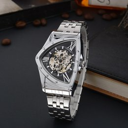 Wholesale student dresses - wengle New Men fashion seiko casual Hollow personality triangle pointer waterproof student Luxury dress Features mechanicalwatches