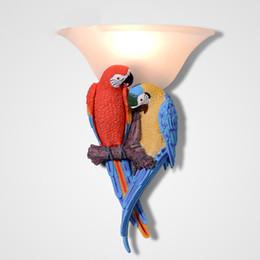 встроенные аварийные фонари Скидка 30X44 см бесплатная доставка цвет попугай смолы настенные светильники современный творческий настенный светильник для гостиной спальня светодиодная лампа E27