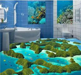 Wholesale Heat Toilet - 3D Floor pvc self-adhesive wallpaper Aesthetic Reef Moss sea water toilet bathroom bedroom