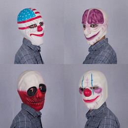Wholesale kids latex costume - New PAYDAY 2 Adult Kids Clown Face Latex Mask Fancy Dress Halloween Horror Prop Costumes