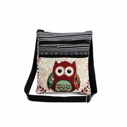 Wholesale Satchel Bags Owl - 2018 Owl Printed Canvas Tote Female Casual Beach Bags Large Capacity Women Single Shopping Bag Daily Use Canvas Handbags