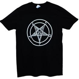 Пентаграмма черная онлайн-Коза пентаграмма Бафомет сатанист футболка Дьявол Коза металл графический черный тройник
