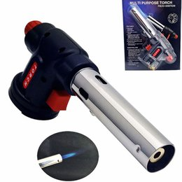 Wholesale Tools Solder Gas - Welding Gun Lighter Burner kitchen torch Flamethrower BBQ Guns Butane Gas Blow Torch Lighter Soldering Cooking Tools New