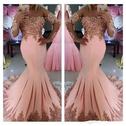 Wholesale Vintage Button Brooch - 2018 Sexy Arabic Middle East Prom Dresses Long Sleeves Pink Lace Appliques Pearls Mermaid Plus Size Evening Party Gowns Vestidos De Fiesta