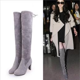 Stivali alti ginocchio online-Faux Suede Slim Boots Sexy sopra il ginocchio alto moda donna inverno coscia alta stivali scarpe donna