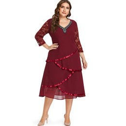 ac7d7622ce593 Wipalo Plus Size 5XL V Neck Floral Lace Sleeve Chiffon Overlay Dress Casual  Wine Red Beading Tiered Dress Mid Calf Fall Vestidos