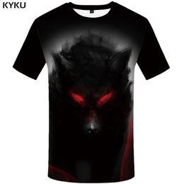 Wholesale Wolf Eyes - KYKU Wolf T shirt Blood Tees Animal Clothes Eye shirts Clothing Tops Men Rock