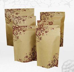 2019 крафт-упаковка Бумага Kraft стоит вверх мешки еды resealable напечатанный бумажный мешок,мешки бумаги kraft ziplock/застежки-молнии ,мешок пакета для еды скидка крафт-упаковка
