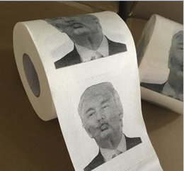 Wholesale Wholesale Toilet Paper Free Shipping - Novelty Donald Trump Toilet Paper Roll Fashion Funny Humour Gag Gifts President Drawing Donald Paper free shipping