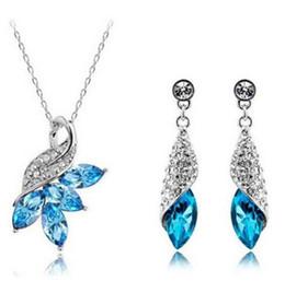 Wholesale Cz Pearl Wedding Bracelet - Women Jewelry Set CZ Crystal 18k Gold Plated Chain Necklace Earring Bracelet Set<<<free shipping