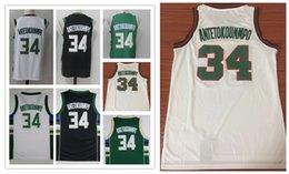 Wholesale Elite S - NCAA Wholesale Fan 2018 Men's shirt elite #34 Giannis Antetokounmpo Basketball jersey Antetokounmpo green white Embroidery jerseys shirts