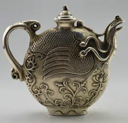 Te tibet online-Obra de colección decorada Old Handwork Tibet Silver Tallada Phoenix Tea Pot