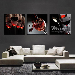 cup paintings Promo Codes - Canvas Paintings Kitchen Restaurant Wall Art 3 Pieces Red Wine Glass Pictures HD Prints Cup Bottle Poster Home Decor Framework
