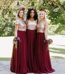 Wholesale Mixed Style Bridesmaids Dresses - Burgundy Country Two Pieces Bridesmaid Dresses 2018 Sequins Top Mix Style Long Holiday Junior Wedding Party Guest Dress Cheap