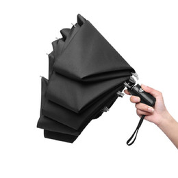 Wholesale umbrella for cars - Reverse Automatic Umbrella Rolling Over Pongee Three Folding Umbrellas Women Men Reverse Umbrella For Car Paraguas DDA574