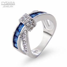 2019 оптовые кольца стерлингового серебра FYSARA крест палец кольцо для женщин проложили кристаллы циркона роскошные Принцесса Леди обручальное обручальное кольцо синий серебряный пара ювелирных изделий