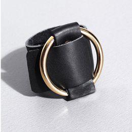 Wholesale Handcuffs Metal - Punk Rock Gothic Handmade Big Large O Round Cuff Gold Silver Metal Leather Handcuff Bangle Bracelet Belt Loop