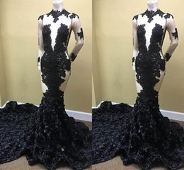 Wholesale Best Evening Dresses - 2018 Best-Selling Prom Dresses High Neck Chapel Train Flower Pattern Long Sleeve Sexy Cutaway Sides Party Evening Dresses Prom Gowns