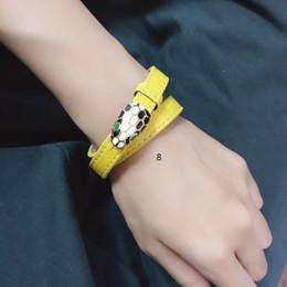 2019 pulseiras de cobre de couro Hot Couro Leopardo Cabeça Cuff Bangle Mulheres Enamel Esmalte Duplo Animal Liga de Cobre Bangle Jóias pulseiras de cobre de couro barato