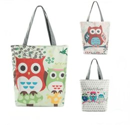 Wholesale night shop - Women Embroidered Floral Handbag Night Owl Printed Shoulder Bags Canvas Birds Lady Shopping Bag Totes Female Casual Travel Beach Bag