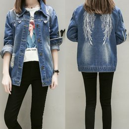 Wholesale Vintage Angles - 2018 New Angle Wings Embroidery Women Jeans Jackets Loose Single-breasted BF Denim Coat Ripped Zipper Long Sleeve Outwear