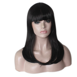 Wholesale Black Boy Wig - Synthetic Cosplay Wig Long Natural Wave Pear Hair Black Wigs Fashion Cheap Side Bang for Women Heat Resistant Hair