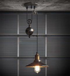 Polea de luz colgante ajustable online-Polea creativa de elevación retro araña ajustable DIY E27 arte techo lámpara colgante Vintage Loft antiguo accesorio de luz