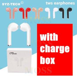 2019 auriculares de alta calidad mic I7 I7S TWS Gemelos Auriculares Bluetooth Mini Auriculares inalámbricos Auriculares con micrófono Estéreo V4.2 Auriculares con cargador de alta calidad en blanco auriculares de alta calidad mic baratos