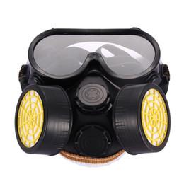 2019 spray lackmasken Hohe Qualität Sicherheit Anti Staub Spray Chemische Gas Dual Patrone Atemschutzmaske Farbfilter Maske PVC Gläser Set Hohe Qualität Neu rabatt spray lackmasken