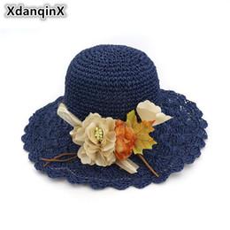 Wholesale handmade straw hats - XdanqinX Summer Women's Hat Handmade Flower Decorated Straw Hat Foldable Small Fresh Sun Hats Fashion Brand Lady's Beach