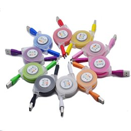 Wholesale smiley lights - Universal Telescopic Micro usb2.0 Colorful smiley lights data charger cable for Samsung HTC SONY V8 Charging Line Android Smartphone Cables